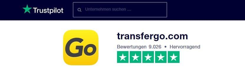Bewertungen TransferGo bei Trustpilot